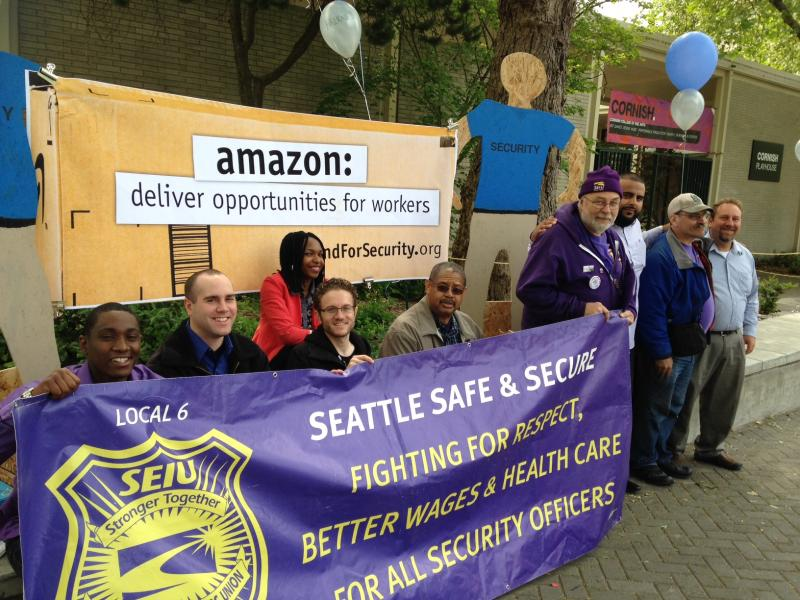 Daivon Young joined other security guards and members of the Service Employees International Union after the Amazon annual shareholders meeting Wednesday, May 21, 2014.