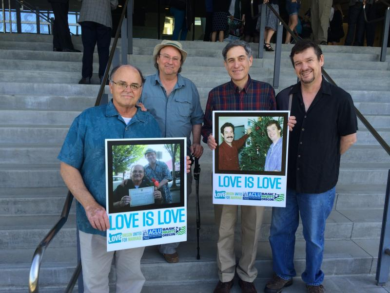 Supporters of same-sex marriage gathered outside a federal courthouse in Eugene prior to a hearing in the case.