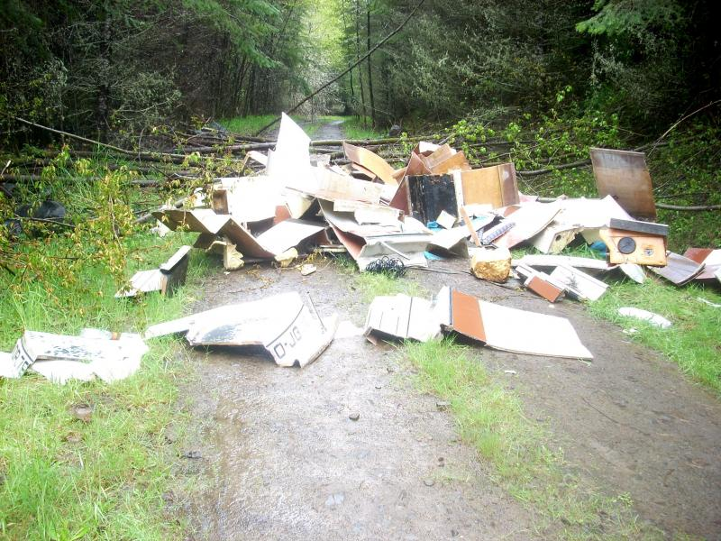 Vandalism and illegal dumping like this on the St. Helens Tree Farm was a key reason for the new access policy, says Weyerhaeuser.