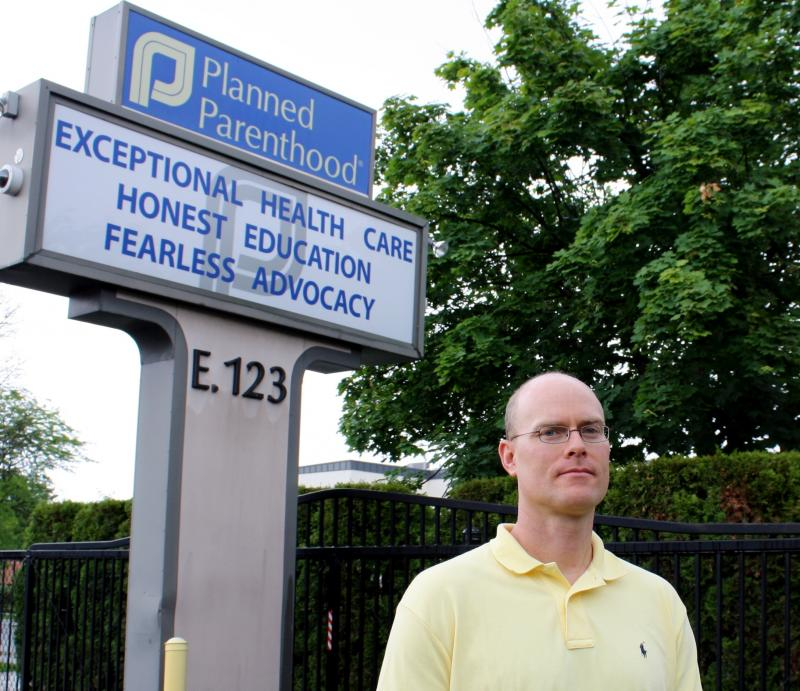 Planned Parenthood of Greater Washington and North Idaho CEO Karl Eastlund stands in the parking lot of the Spokane clinic.