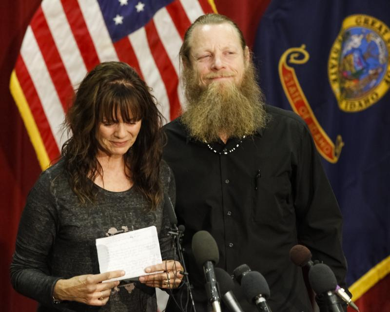 Jani and Bob Bergdahl speak to the media during a news conference at Gowen Field in Boise, Idaho, on Sunday, June 1, 2014, regarding their son, Army Sgt. Bowe Bergdahl. Sgt.