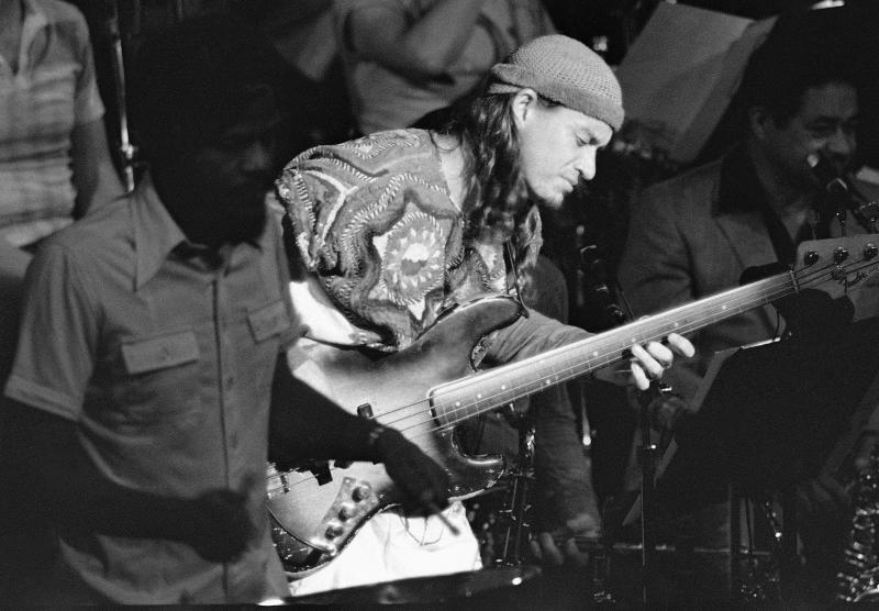 Jaco Pastorius strums his bass guitar at Avery Fisher Hall in New York on June 28, 1982.