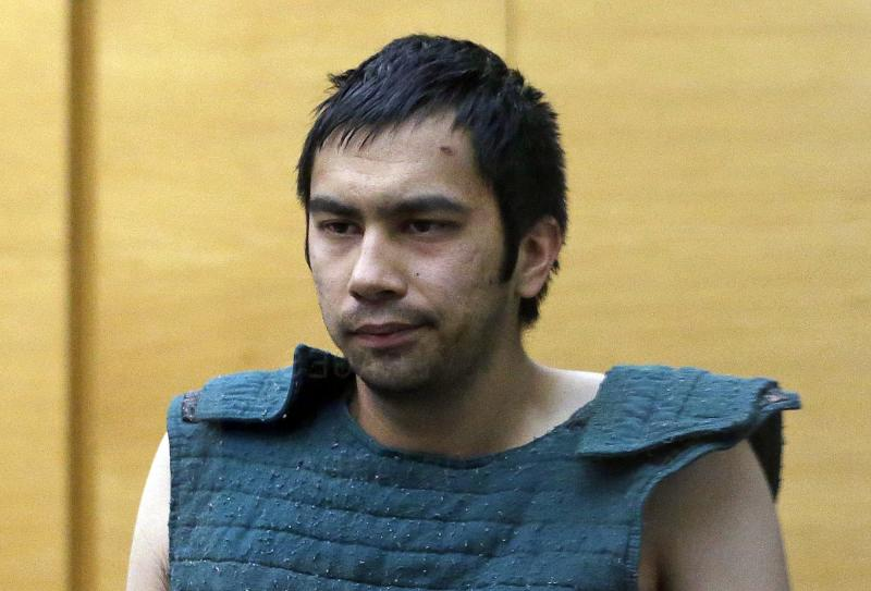 FILE - Shooting suspect Aaron Ybarra is led to a court hearing at a King County Jail courtroom Friday, June 6, 2014, in Seattle.