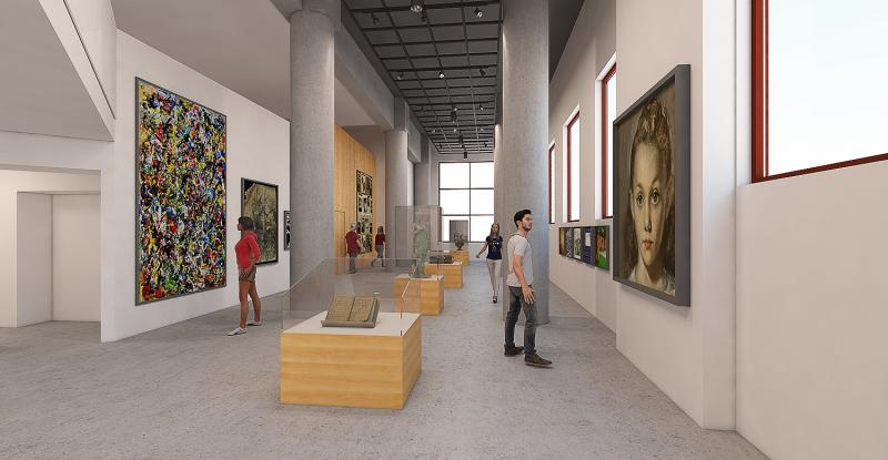 An artist's rendering depicts what the gallery of the Holocaust Center for Humanity is expected to look like when it opens.