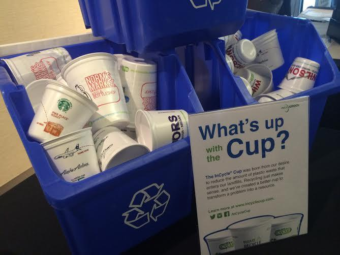 The Incycle Cup, made by Arlington-based Microgreen Polymers, is a clean tech success story many people are eager to tell. Airlines, including launch customer Alaska Air Group, say they save fuel because the cup is lighter than paper and can be recycled.