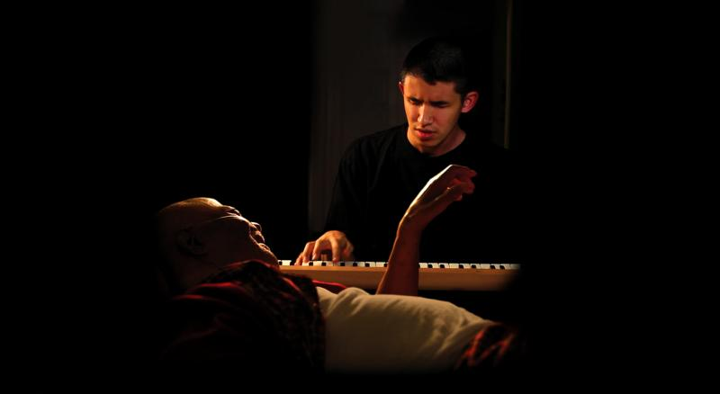 "Pianist Justin Kauflin and jazz legend Clark Terry in a still from the film, ""Keep on Keepin' On"""