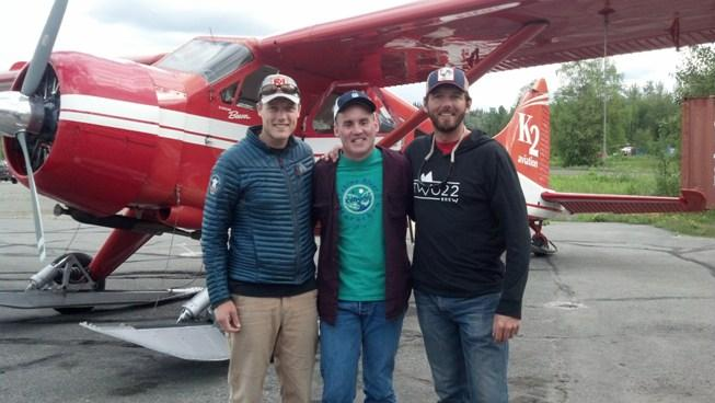 Josh Gautreau, Bruce Stobie and Mike Haugen are ready to fly to the base camp of Denali.