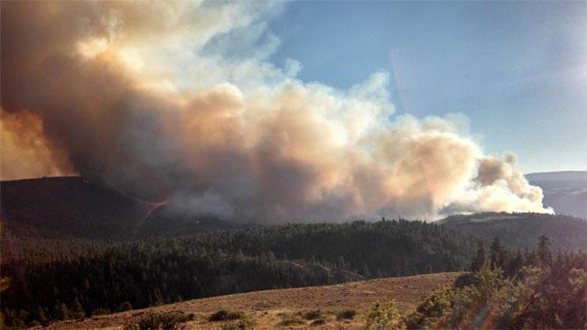 File photo of a 2013 wildfire near Goldendale, Washington.