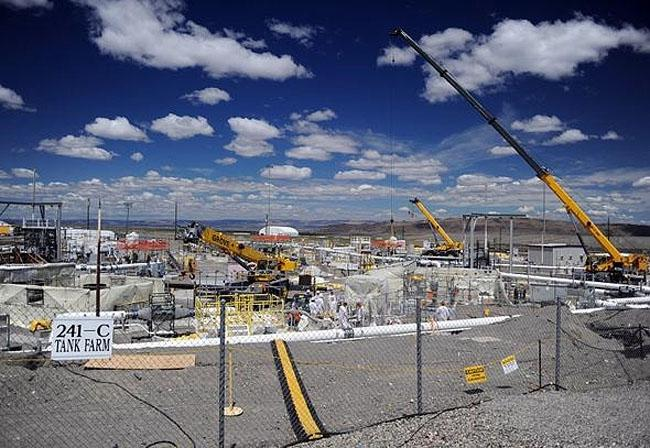 File photo of a nuclear waste storage tank at the Hanford Nuclear Reservation.
