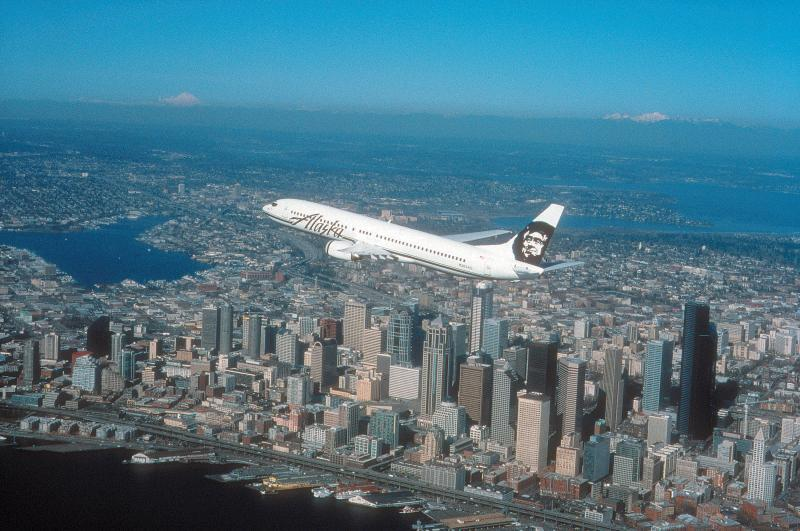 This photo shows an Alaska Airlines 737 plane.