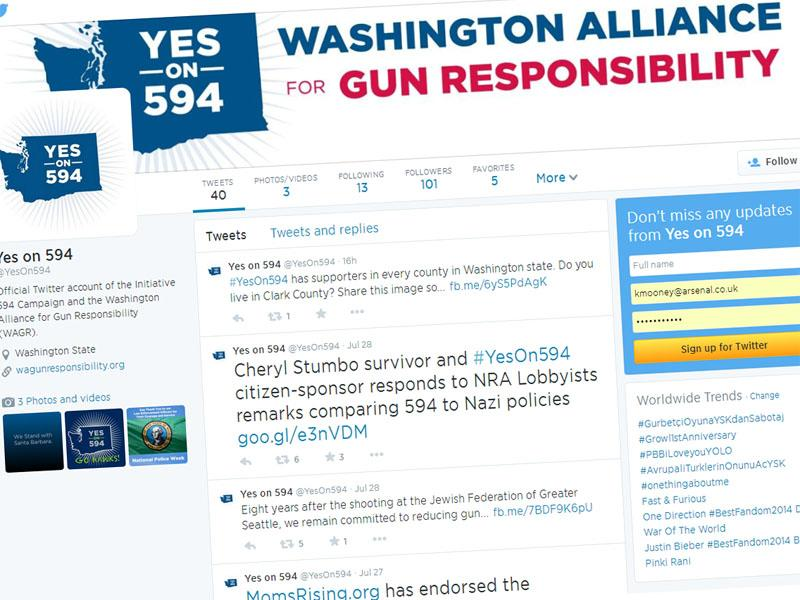 The Yes on 594 campaign used Twitter to quickly disseminate comments by NRA lobbyist Brian Judy.