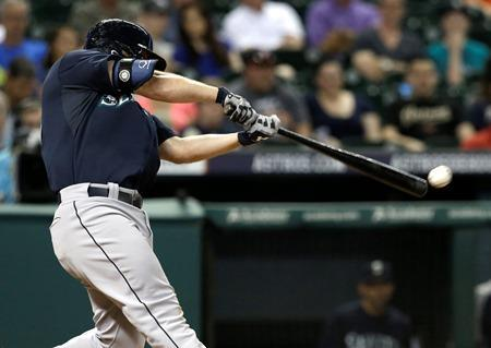 Kyle Seager connects for an RBI double against the Houston Astros in the sixth inning Tuesday, July 1, 2014, in Houston.
