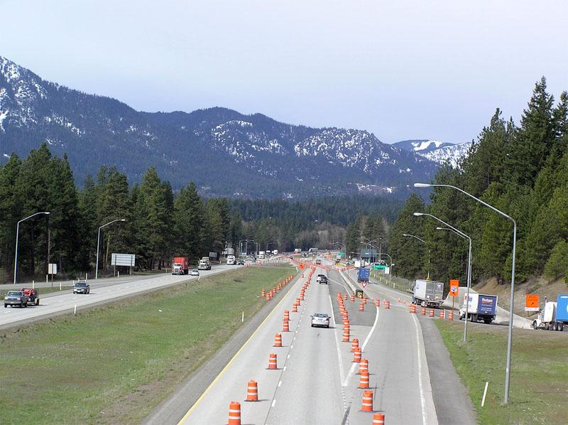 This file photo shows construction along Interstate 90 near Roslyn, Washington during the summer of 2012.