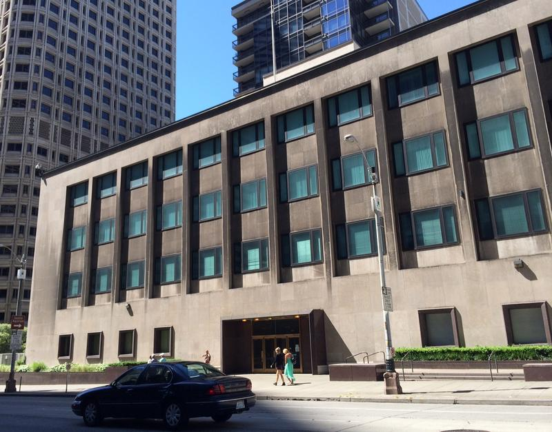 The former Federal Reserve Bank branch building, located at Second Avenue and Spring Street in downtown Seattle, has sat vacant since 2009. Seattle Public Schools officials have submitted an application to take over the property.