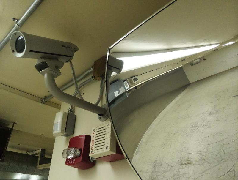 Security cameras, such as this one in the former Federal Reserve bank's vault, are everywhere. Since the Federal Reserve left the property, however, the cameras have been disconnected.