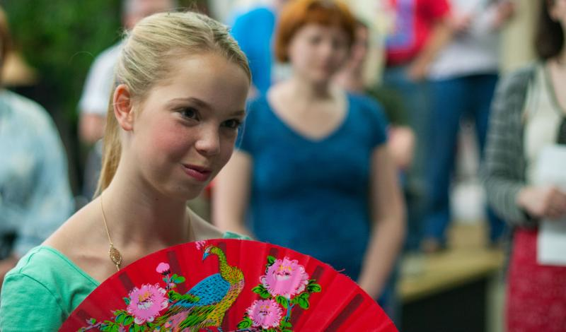 "Lydia Salo, 13, rehearses ""The Mikado"" for an upcoming show with the Seattle Gilbert and Sullivan Society."