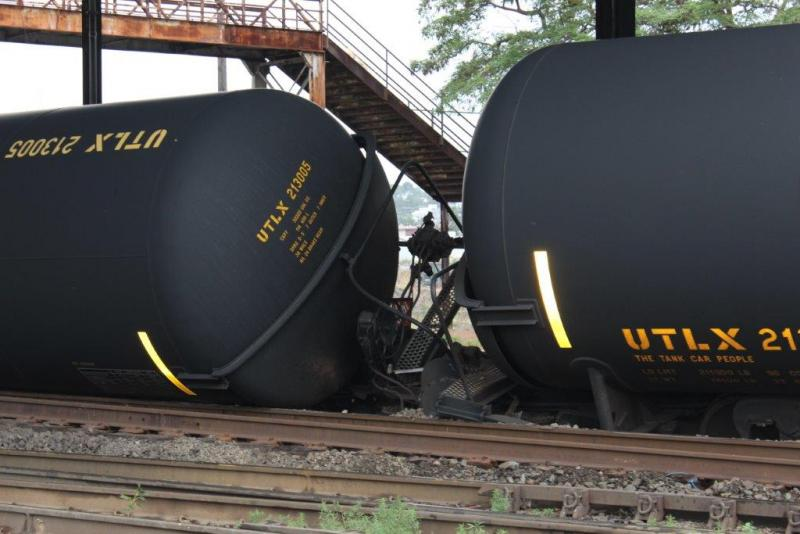 Derailed oil tanker cars beneath Seattle's Magnolia Bridge on Thursday, July 24, 2014.