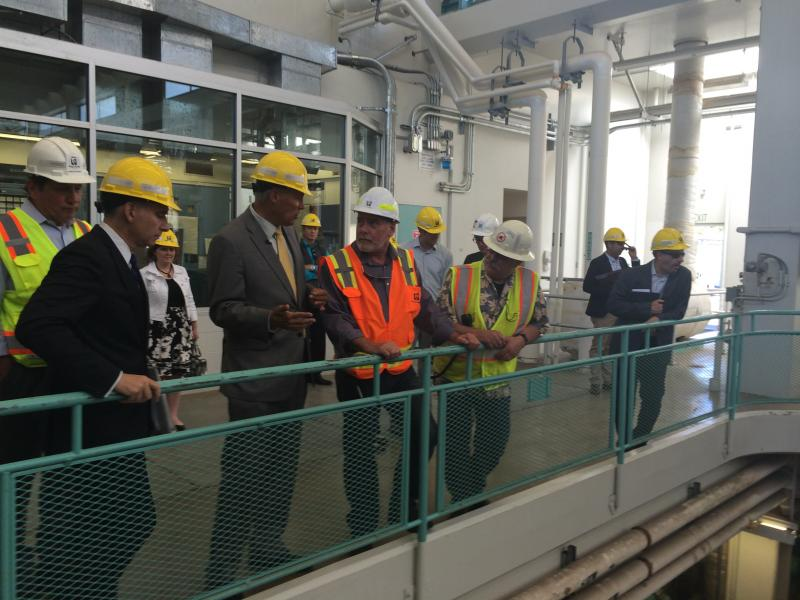 Gov. Jay Inslee toured King County's West Point Treatment Plant on July 29, 2014 to hear about the costs of adapting to climate change.