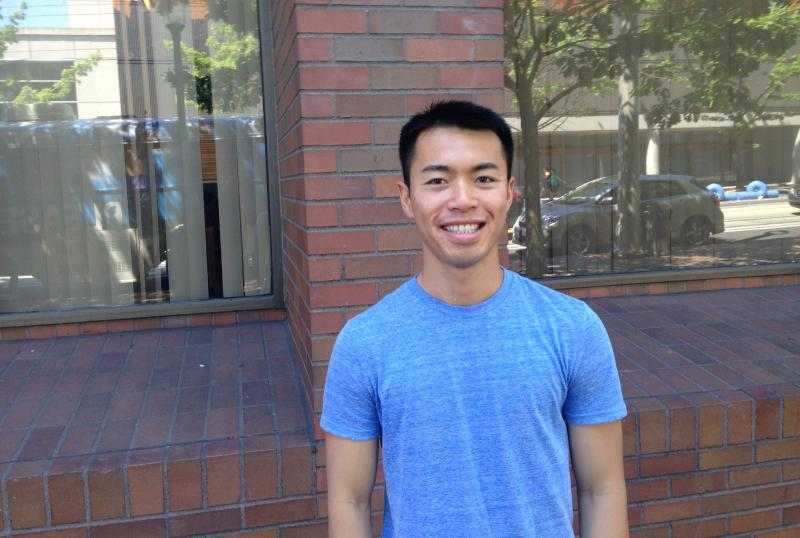 """I donated blood for the first time four years ago … and they told me I was on a black list because I'm gay,"" said pre-med student Danny Luonge, who stopped by to sign the petition."