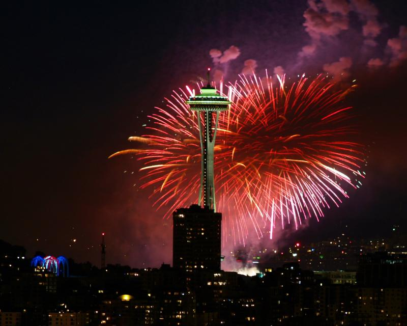 Fireworks will take place after dark on July 4th in Seattle, Tacoma, and many area communities.