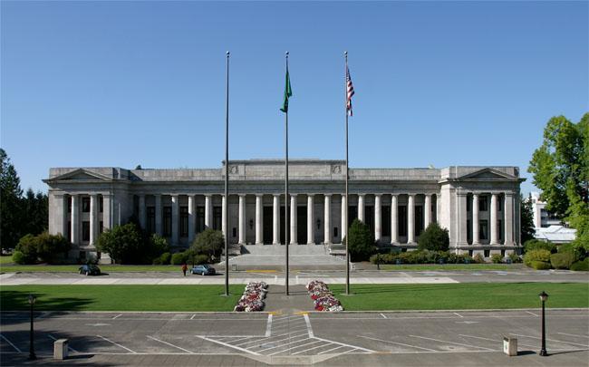 This file photo shows the Washington state Supreme Court in Olympia, Washington.