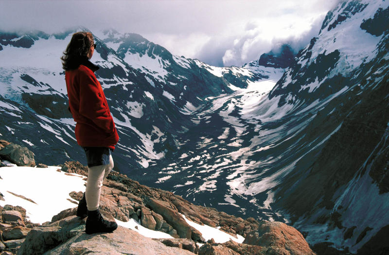 A woman views the Mueller Glacier in New Zealand's Mount Cook National Park in this undated photo.