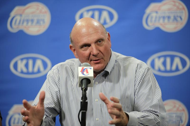FILE - In this Aug. 18, 2014 file photo, new Los Angeles Clippers owner Steve Ballmer speaks during a news conference held after the Clippers Fan Festival in Los Angeles.