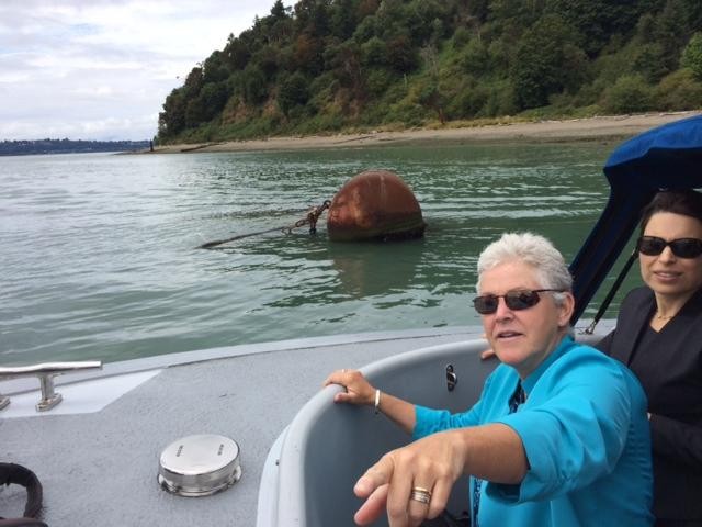 EPA Administrator Gina McCarthy touring Commencement Bay on August 13, 2014, with Puget Sound Partnership Executive Director Sheida Sahandy in the background.