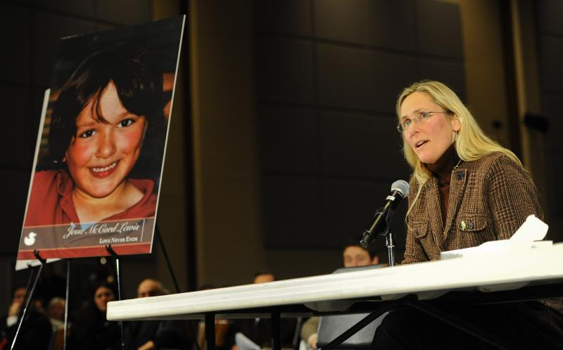 Scarlett Lewis, mother of Sandy Hook Elementary School shooting victim Jesse Lewis, speaks at a Connecticut legislative hearing. She's visiting Seattle this week to discuss how to weave compassion into curriculum in schools.