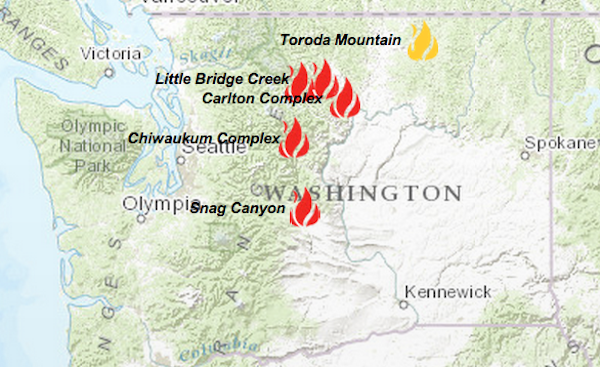 This map shows wildfires active in Washington state as of 2 p.m. Sunday.
