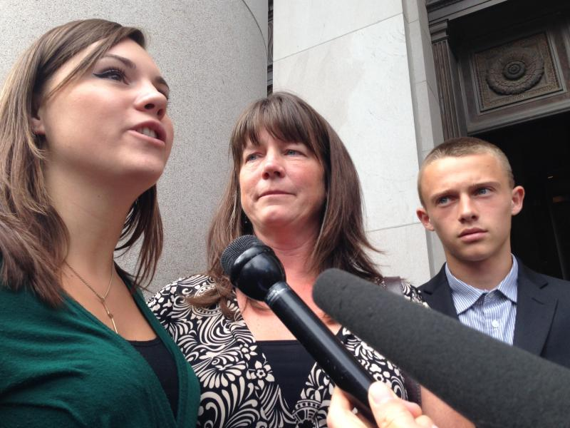 Members of the McCleary family won a school funding lawsuit against the State of Washington. They spoke to reporters outside the Washington Supreme Court following a contempt hearing Sept. 3, 2014.