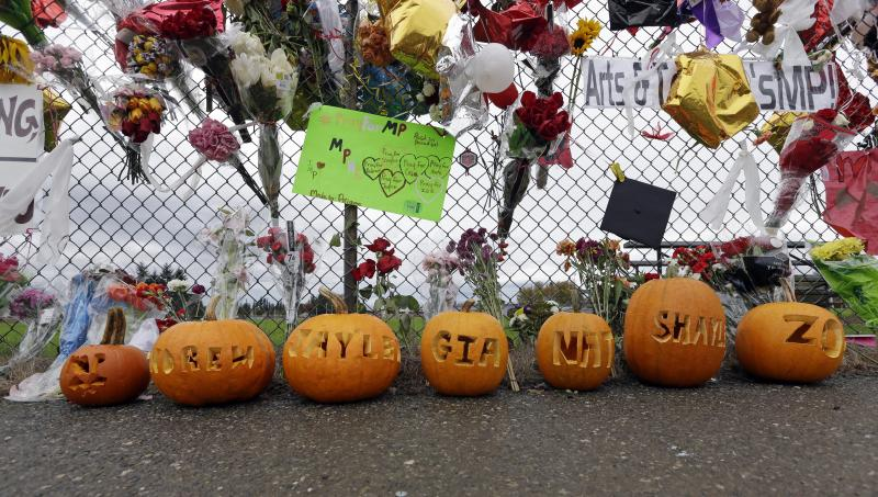 Carved pumpkins with the names of those involved in a deadly school shooting nearly a week earlier line a memorial for victims, Thursday, Oct. 30, 2014, in Marysville, Washington.