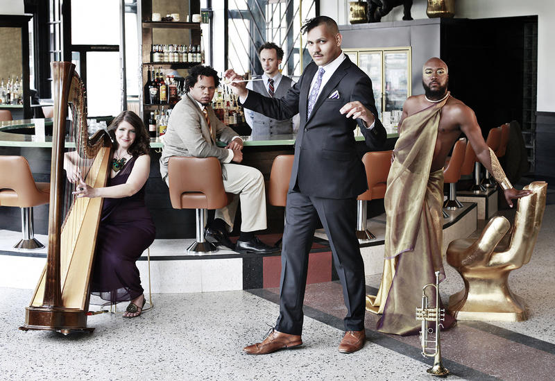 """Among the musicians performing in Oluo's """"Now I'm Fine"""" are, from left to right: Monica Schley, Evan Flory-Barnes, Josh Rawlings, Ahamefule Oluo, Okanomodé Soulchilde"""