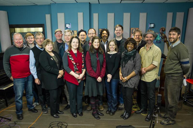 Gail Pettis, Pearl Django, and KPLU donors live in the KPLU studios.
