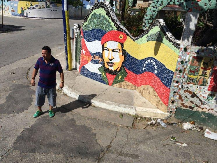 "Hugo Chavez, ""our best friend,"" according to this tile mural in Jaimanitas, on the outskirts of Havana."