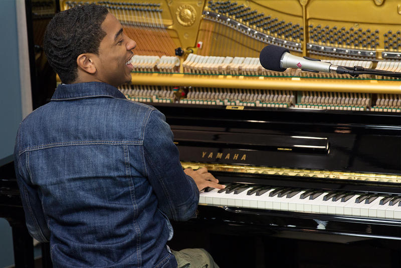 Pianist Christian Sands performing live in the KPLU Seattle studios.