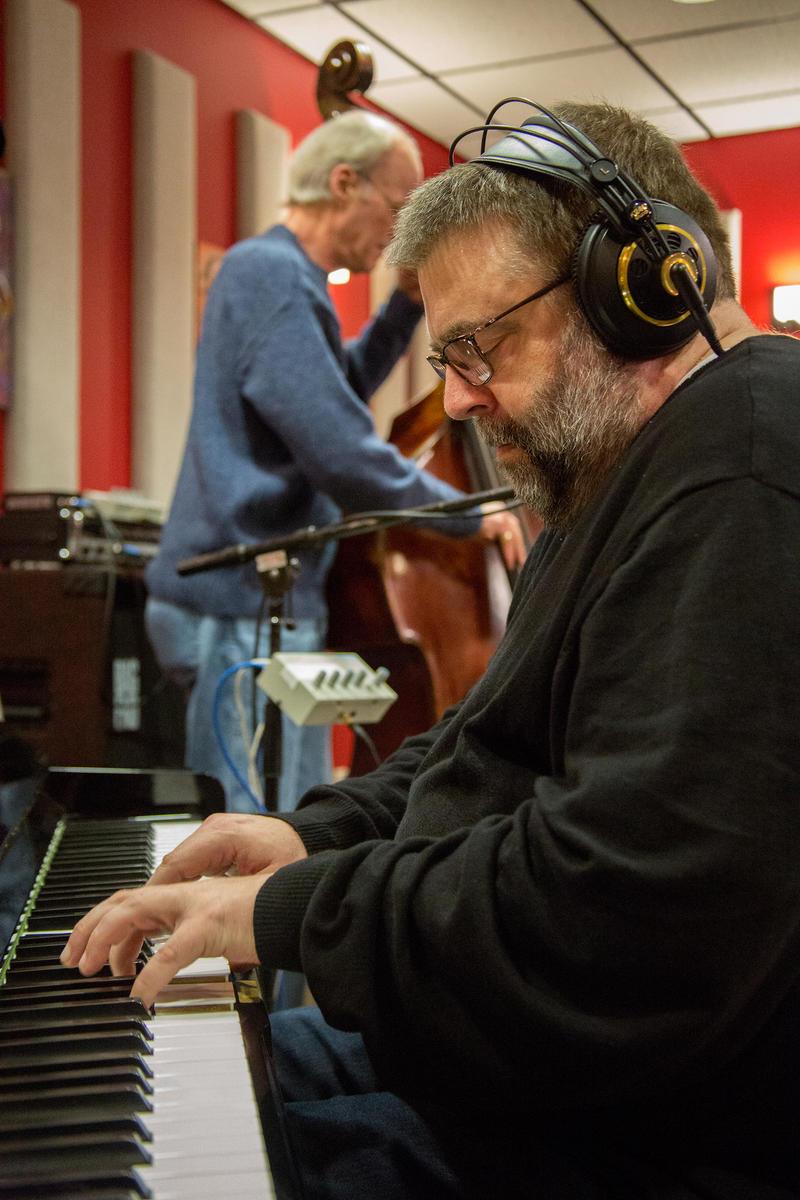 Dave Peck and Jeff Johnson in the KPLU Seattle studios.