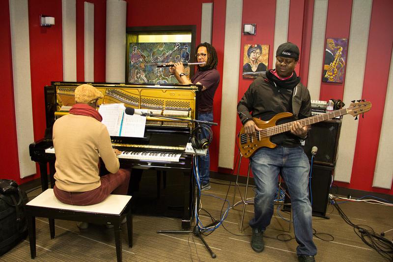 Omar Sosa, Leandro Saint-Hill, and Childo Tomas in the KPLU studio.
