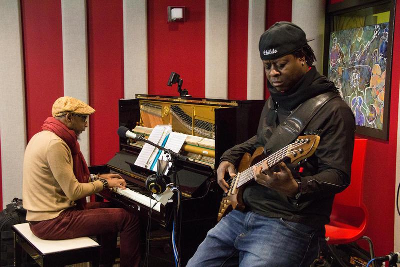 Omar Sosa and Childo Tomas in the KPLU Seattle studio.