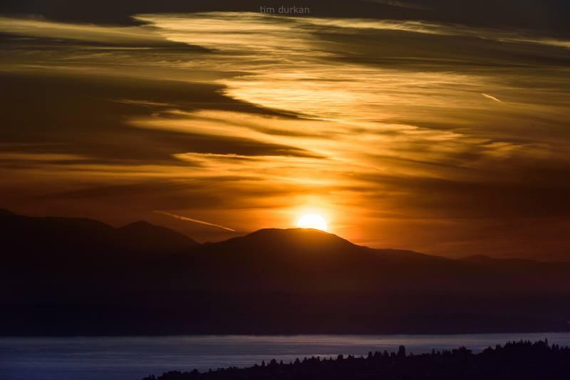 """A Seattle Sunset - on June 10th, 2015. """"Pretty sweet indeed,"""" says Photographer Tim Durkan on his Facebook feed."""