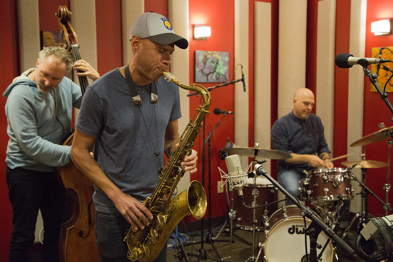 Reid Anderson, Joshua Redman, and David King in the KPLU studios for a live studio session.