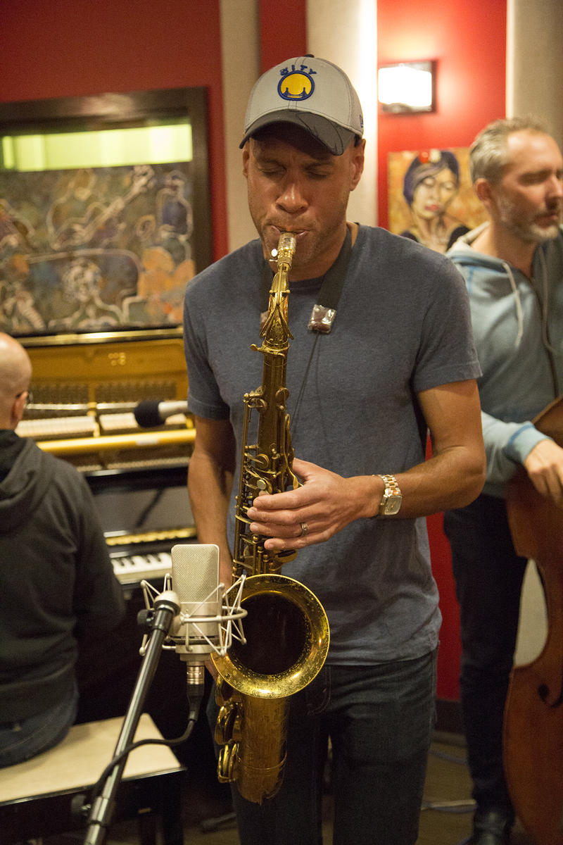 Joshua Redman in the KPLU studio during a live studio session.