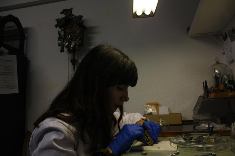 Cox at her workbench.