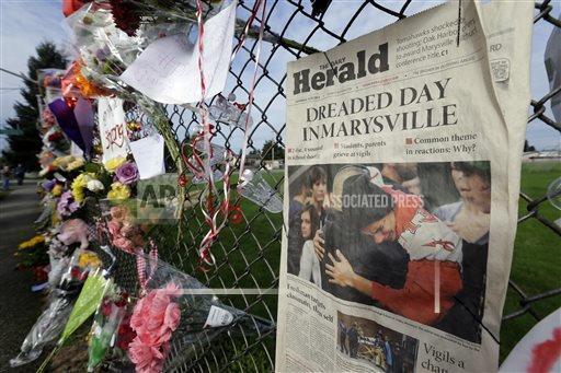 Memorial outside Marysville-Pilchuck High School on November 12, 2014