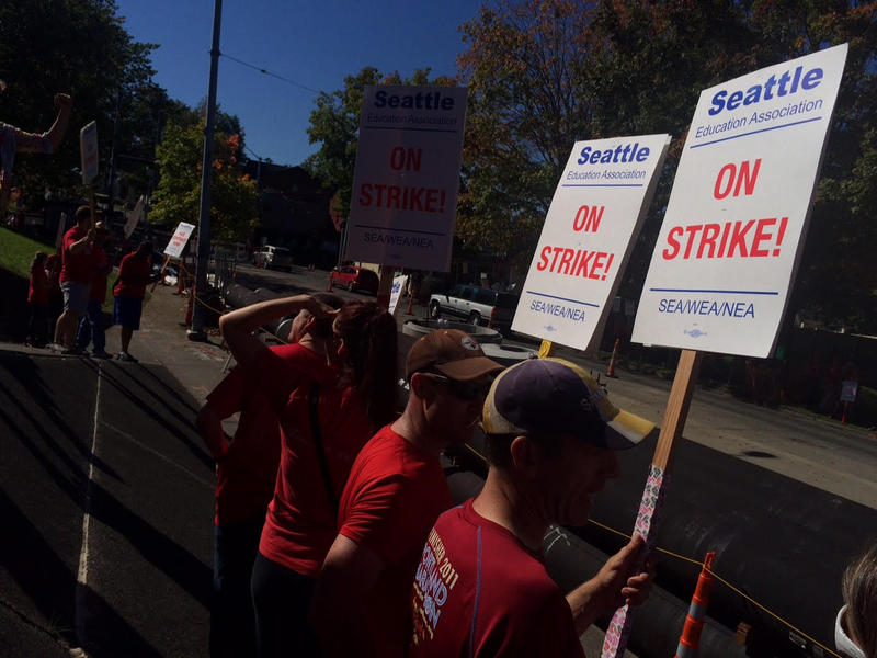 Seattle Education Association members and their supporters return to picketing for the second day of a teachers strike that's shut down Washington state's largest school district.
