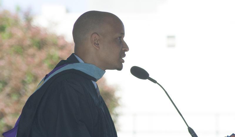 Rainier Beach High School principal Dwane Chappelle speaks at the school's commencement ceremonies at Seattle Center in June 2015.