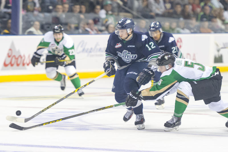 Seattle Thunderbird Ryan Gropp (center) in an Oct. 10th game against the Prince Albert Raiders at the ShoWare Center in Kent