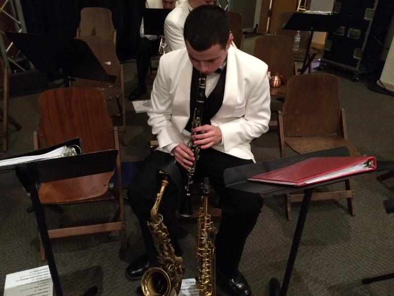 Alto saxman and clarinetist Max Roark warms up.