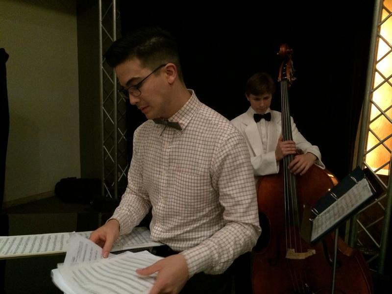 Bassists Cary Miga (l) and Finnegan Jones