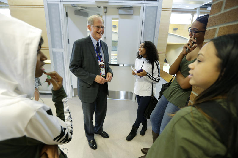 Seattle Public Schools Superintendent Larry Nyland visits Chief Sealth International High School on the district's first day of classes following a six-day teachers strike.